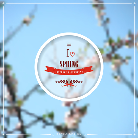 Abstract vector spring background. Flowering tree. Beautiful inscription in retro style - I love spring. Nature background illustration.