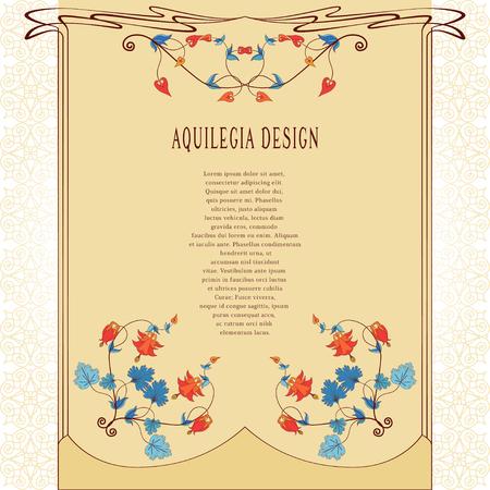 Vintage floral invitation template. Иллюстрация