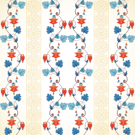 Seamless vector background. Vintage pattern and border in modern style. Aquilegia plants contain flowers, buds and leaves.