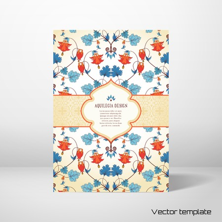 Vintage floral card icon. Vettoriali