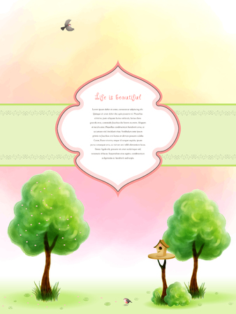 Watercolor blossom tree with green foliage and grass near the trunk. Cartoon birds and birdhouse. Beautiful blurred heaven background. Hand drawing. Frame for your text.