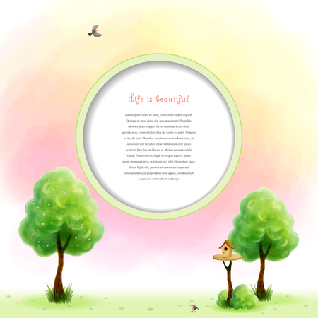 Watercolor blossom tree with green foliage and grass near the trunk. Cartoon birds and birdhouse. Beautiful blurred heaven background. Hand drawing. Round frame for your text.
