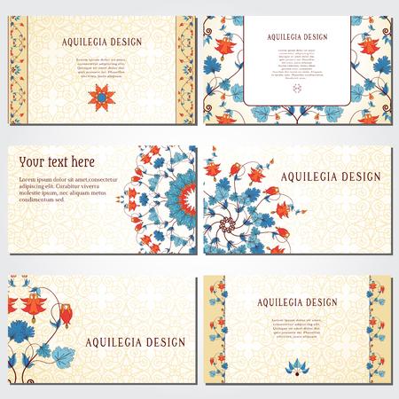 Set van zes horizontale visitekaartjes. Vintage patroon in moderne stijl. Aquilegia-planten bevatten bloemen, knoppen en bladeren. Voldoet aan de standaardmaten. Stock Illustratie