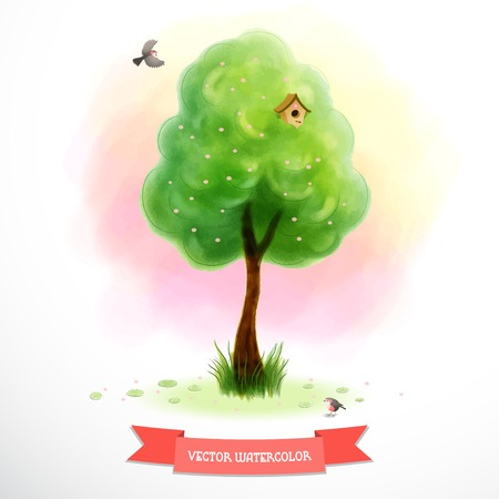 Watercolor blossom tree with green foliage and grass near the trunk. Cartoon birds and birdhouse. Beautiful blurred heaven background. Hand drawing. Ribbon for your text. Illustration