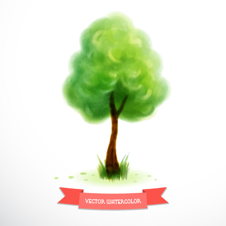 Watercolor tree with green foliage and grass near the trunk. Hand drawing. Ribbon for your text. Illustration