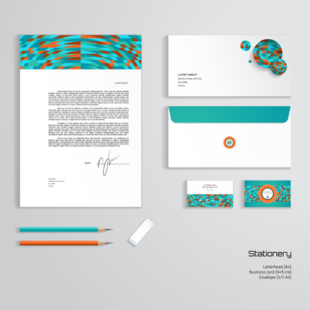 Vector identity templates multicolored geometric ornament vector vector identity templates multicolored geometric ornament letterhead envelope business card pencils eraser easy editing of all parts and accmission Choice Image
