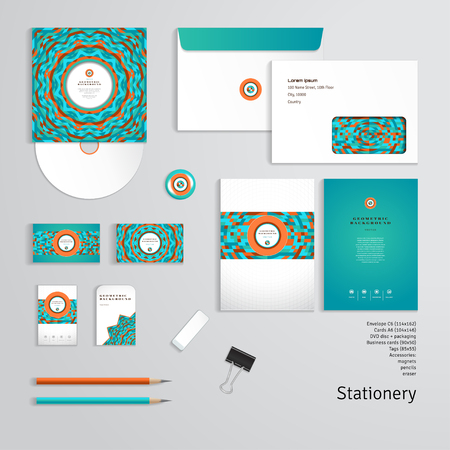 A Vector templates. Geometric pattern. Envelope, cards, business cards, tags, disc with packaging, magnet, pencils, eraser, clamp. Dimensions are given.