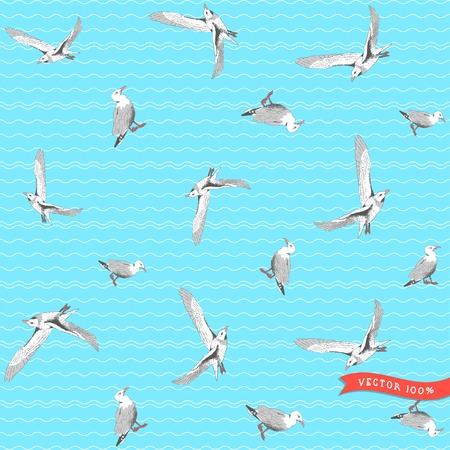 Vector seamless pattern. Marine theme. Gulls, pencil hand drawing. Simple background with wavy pattern.