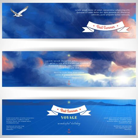 A Vector design for abstract horizontal banner. Overcast sky painted oil pastel. Sun shines through the clouds, flying seagull and sea. Decorative elements, tape, anchor, sun. Place for your text.