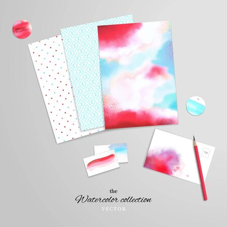 Vector set for design. Corporate design or card making and scrapbooking. Simple and watercolor background, brush strokes and stains. Paper and various cards. Pencil. Hand drawing and realistic shadows