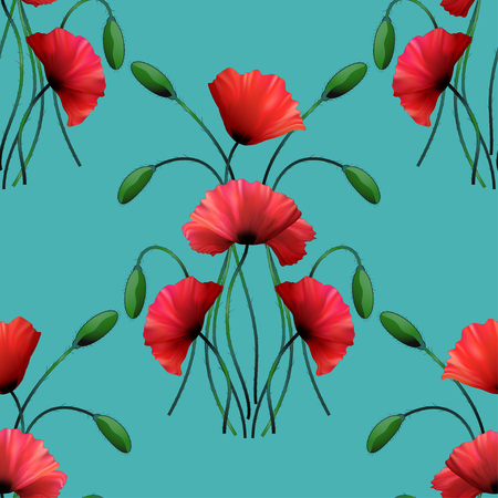 Seamless vector background. Flowers and buds of poppy. 일러스트
