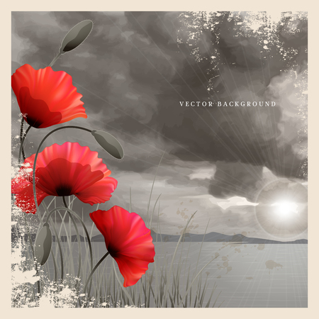 Vector vintage card. Poppies and grass. Imitation black and white old photos. Overcast sky painted pastel. Sun shines through the clouds and sea. Perfect for announcements, invitations and greetings