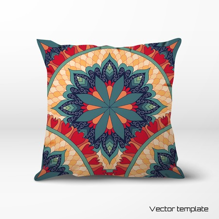 Vector pillow with a round ornament. Beautiful floral pattern in vintage style.