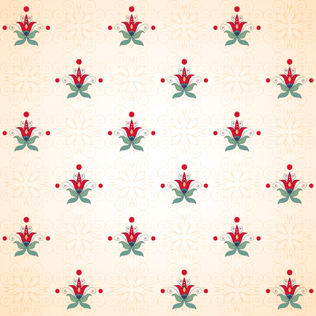 Seamless vector background. Beautiful floral pattern in oriental style. Simple delicate ornament. Vettoriali