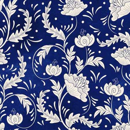 Seamless vector background. Imitation of Chinese porcelain painting. Beautiful flowers and blue watercolor background.