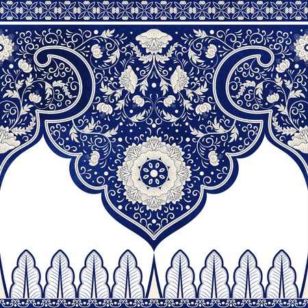 Set of vector seamless borders. Imitation of chinese porcelain painting. Blue watercolor background. Hand drawing. Vettoriali