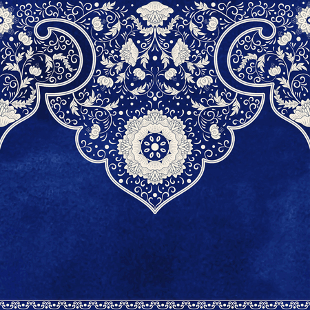 Imitation of chinese porcelain painting. Blue watercolor background. Hand drawing.