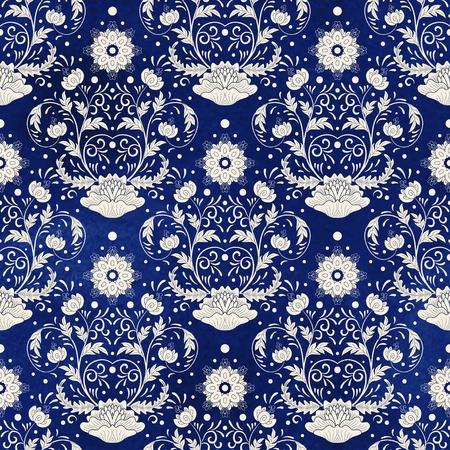 Sfondo vettoriale senza soluzione di continuità. Imitazione della pittura cinese su porcellana. Bei fiori e disegno blu della mano del fondo dell'acquerello.