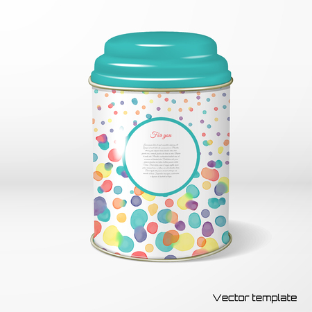 Vector object. Round tin packaging with a figured cover. Tea, coffee, dry products. Watercolor blots are mixed between ourselves. Frame for your text.