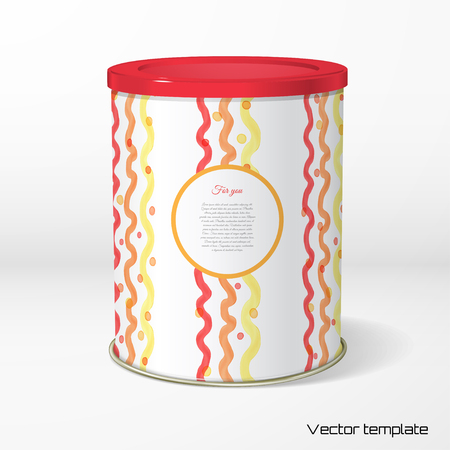 Vector object. Round tin packaging. Tea, coffee, dry products.