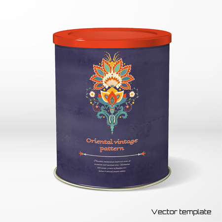 Vector object. Round tin packaging. Tea, coffee, dry products. Beautiful oriental indian traditional flower. Wet watercolor background. Hand drawing. Place for your text.