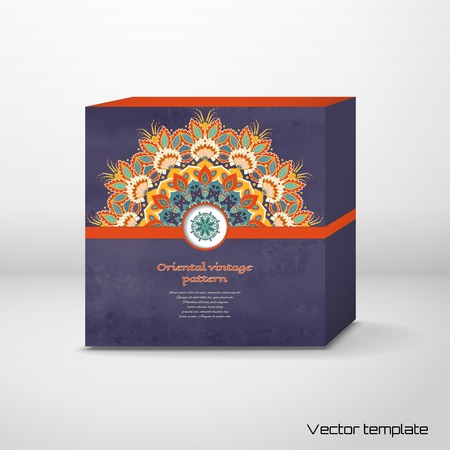 Vector cubic box template. Floral round pattern in vintage style. Beautiful oriental indian traditional flower. Wet watercolor background. Hand drawing. Place for your text.