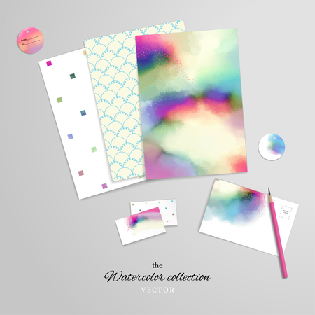 Vector set for design. Corporate design or card making and scrapbooking. Simple and watercolor background, brush stains. Paper and various cards. Pencil. Hand drawing and realistic shadows.