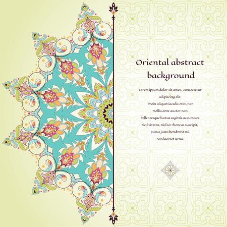 carte abstraite de vecteur avec motif floral oriental oriental . simple toile de fond orange pour votre conception. votre espace de soleil