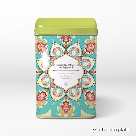 Vector object. Square tin packaging. Tea, coffee, dry products. Oriental floral round pattern.  Figured frame for your text. Illustration