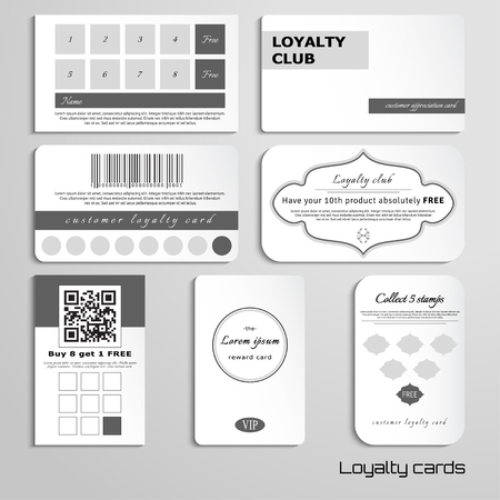 Set of loyalty cards. The basic design in black and white colors. Realistic shadows. Place for your text. Stock Illustratie