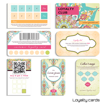 Set of loyalty cards. Oriental floral pattern. Simple delicate ornament. Realistic shadows. Place for your text.