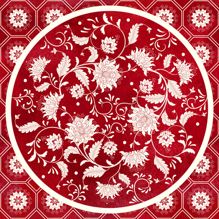 Vector background. Beautiful floral round pattern in chinese style. Simple delicate decor. Imitation of chinese porcelain painting. Red watercolor background. Hand drawing.