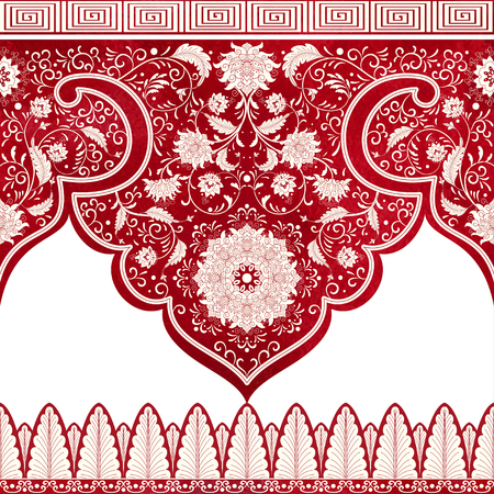 Set of vector seamless borders. Imitation of chinese porcelain painting. Red watercolor background. Hand drawing.