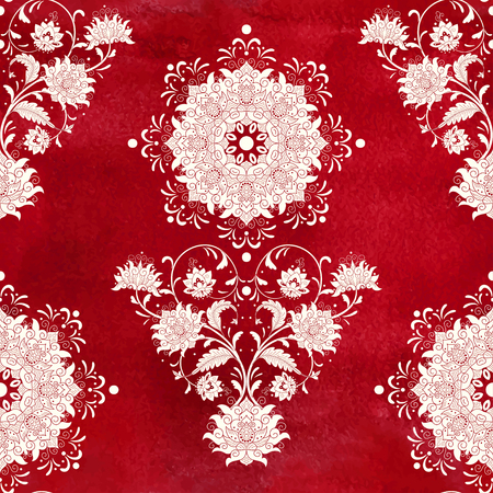 A Seamless vector red watercolor background. Beautiful floral square pattern. Imitation of chinese porcelain painting. Hand drawing. Illustration