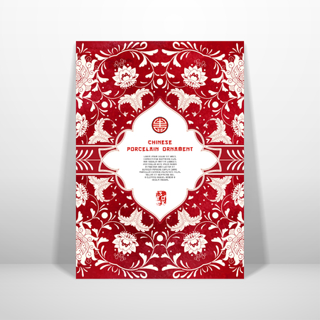 Vector card. Imitation of chinese porcelain painting. Beautiful flowers and red watercolor background. Hand drawing. Figured frame for your text. Realistic shadows.