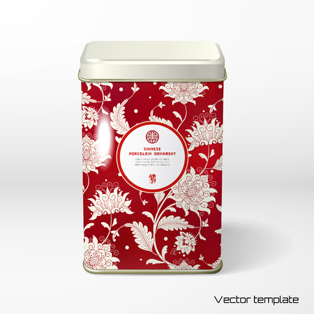 Vector object. Square tin packaging. Tea, coffee, dry products. Beautiful floral pattern. Imitation of chinese porcelain painting. Place for your text.