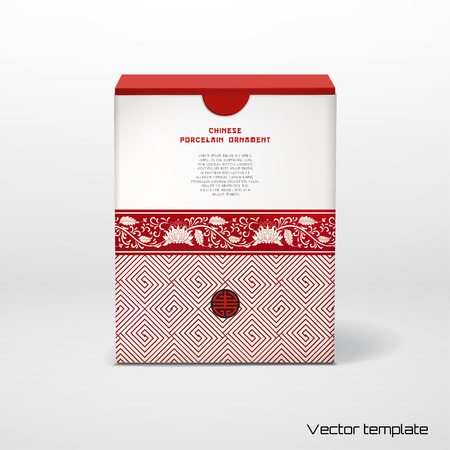 Vector illustration. Beautiful box with a floral chinese ornaments and place for your text.