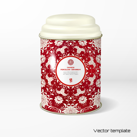 Vector object. Round tin packaging with a figured cover. Tea, coffee, dry products. Beautiful floral pattern. Imitation of chinese porcelain painting. Place for your text.