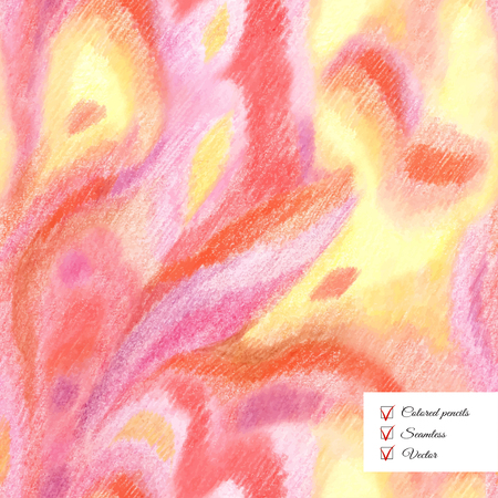 Vector seamless colored pencil spotted background. Hand drawing. Stock Illustratie