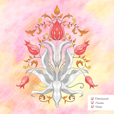 Vector illustration. Tulip flower element to create a floral ornament. Elegant decor with leaves.