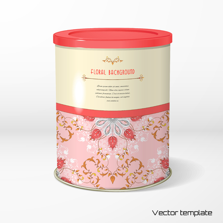 Vector object. Round tin packaging. Tea, coffee, dry products. Tulip flower ornament and decor with leaves. Floral pattern with curls. Place for your text.
