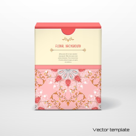 Vector illustration. Box with tulip flower ornament and decor with leaves. Floral pattern with curls. Place for your text. Illustration