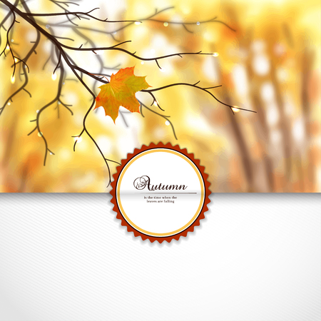 A Vector envelope for invitations or congratulations. Autumn composition with wet tree branches and maple leaf. Blurred misty background. Place for your text.
