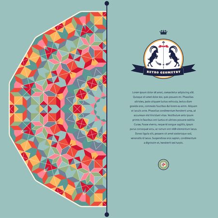 Abstract vector card. Round geometric ornament of multicolored figures and grid. Beautiful emblem with two goats and ribbon. Place for your text. Illustration