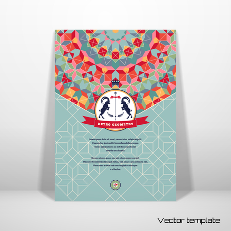 Abstract vector card. Round geometric ornament of multicolored figures and grid. Beautiful emblem with two goats and ribbon. Place for your text. Realistic shadow.