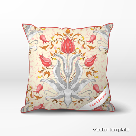 Vector pillow with  tulip flower ornament and decor with leaves.