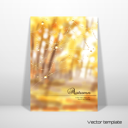 Vector card. Autumn composition with spider web and drops of dew or rain. Blurred misty background. Place for your text. Realistic shadow.