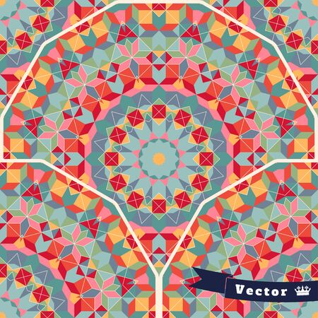 Abstract seamless vector background. Round geometric ornament of multicolored figures and grid. Illustration