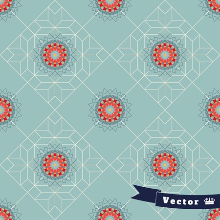 Abstract seamless vector background. Geometric ornament of multicolored figures and grid. Illustration