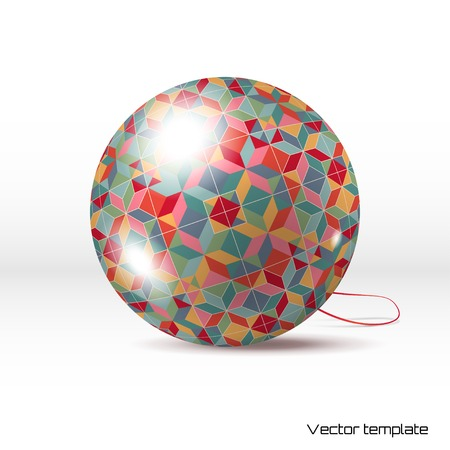 Vector Christmas ball with a geometric pattern. Realistic shadows. Illustration